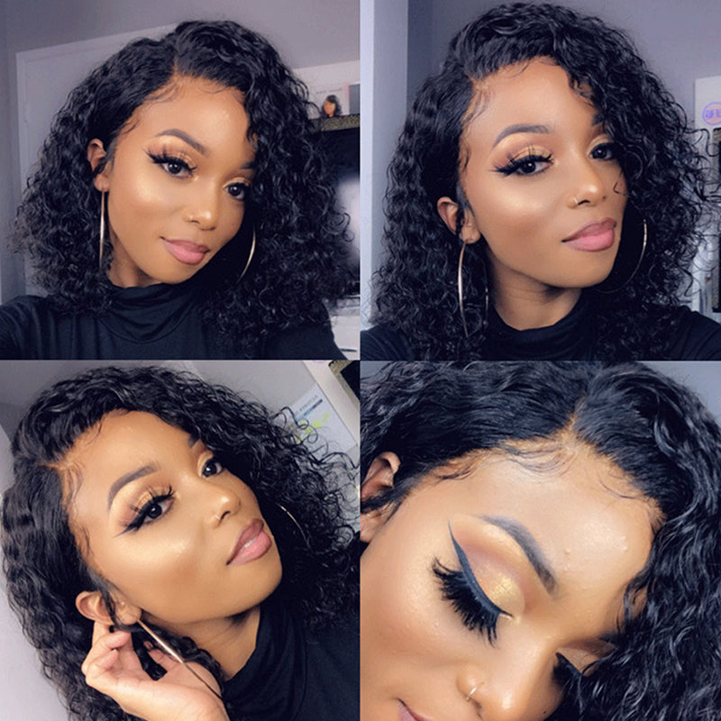 Curly Bob Wig Light Brown Lace Wigs 100% Human Remy Hair 13x4 Lace Frontal Wig - Rose Hair