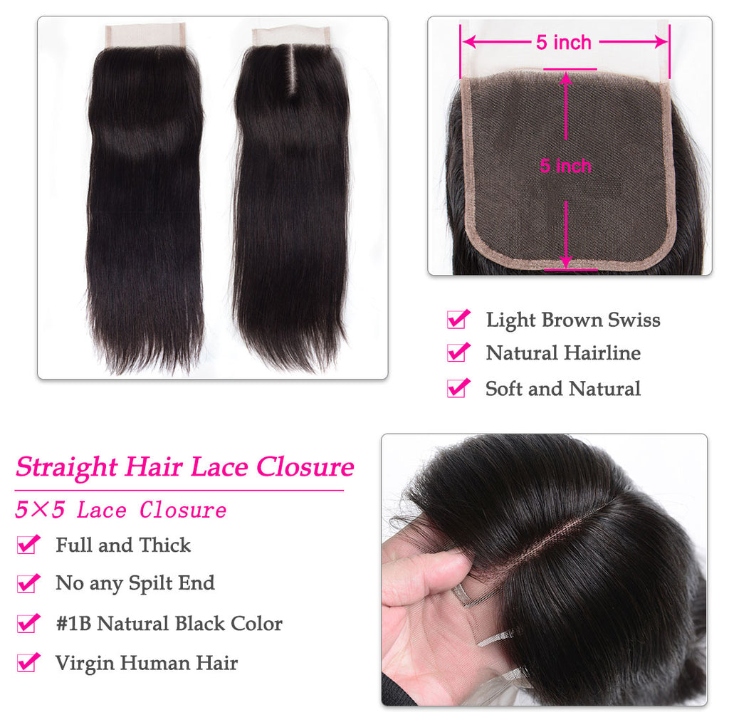 1PCS Brazilian Virgin Hair Straight 5x5 Light Brown Lace Closure Free Part - Rose Hair