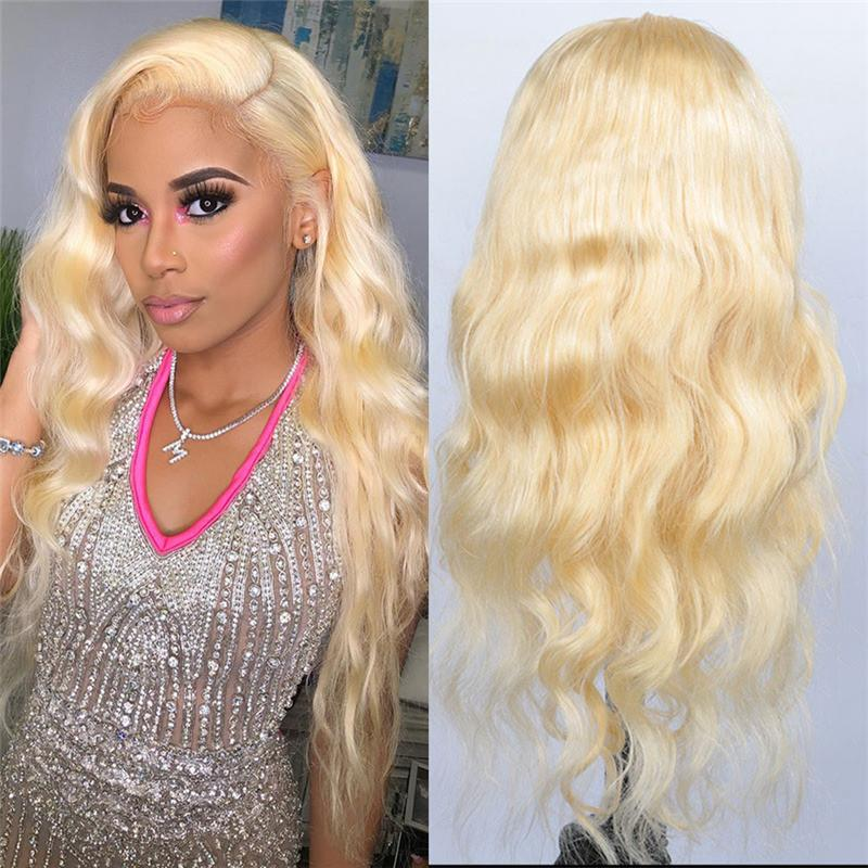 Rose Hair Blonde #613 Color Full Lace Body Wave Human Brazilian Virgin Hair Wig - Rose Hair