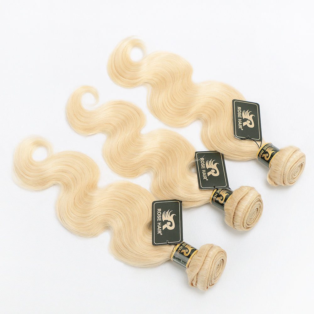 10A Grade 3PCS Body Wave #613 Color Blonde Hair Best Brazilian Virgin Hair Bundles - Rose Hair