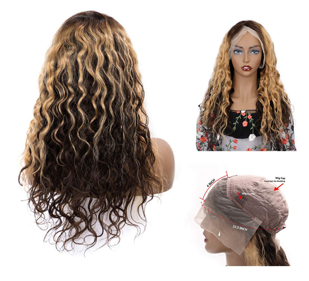 Pre Plucked Mix Color Real Undetectable Transparent Loose Wave 13*4 Lace Front Wig Brazilian Virgin Hair Ombre Wig - Rose Hair