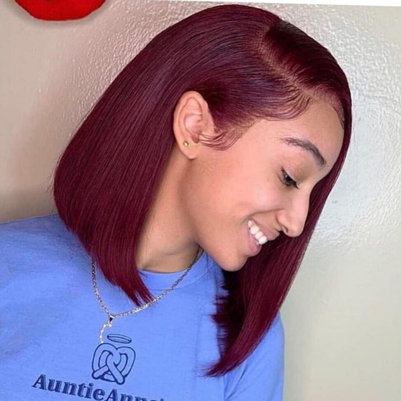 RoseHair Human Virgin Hair Burgundy Red Color 13*4 Lace Frontal Bob Wig Side Part - Rose Hair