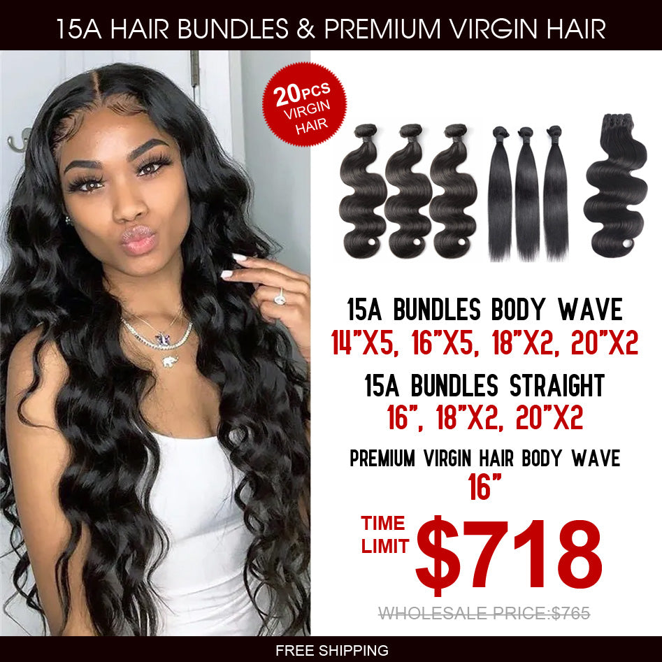 15A Grade Hair Bundles with Premium Virgin Hair Bundle Package Deal - Rose Hair