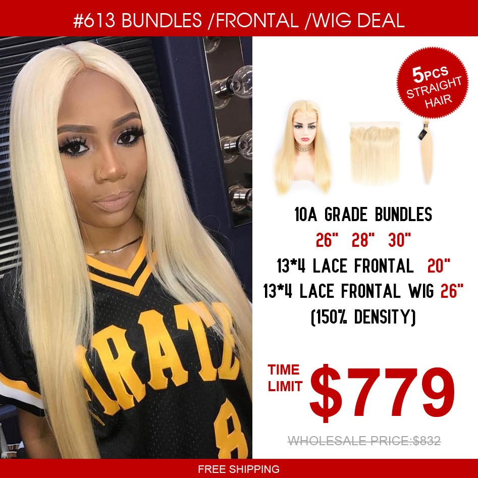 10A Grade #613 Hair Bundles & 13*4 Lace Frontal & 13*4 Lace Frontal Wig Package Deal - Rose Hair