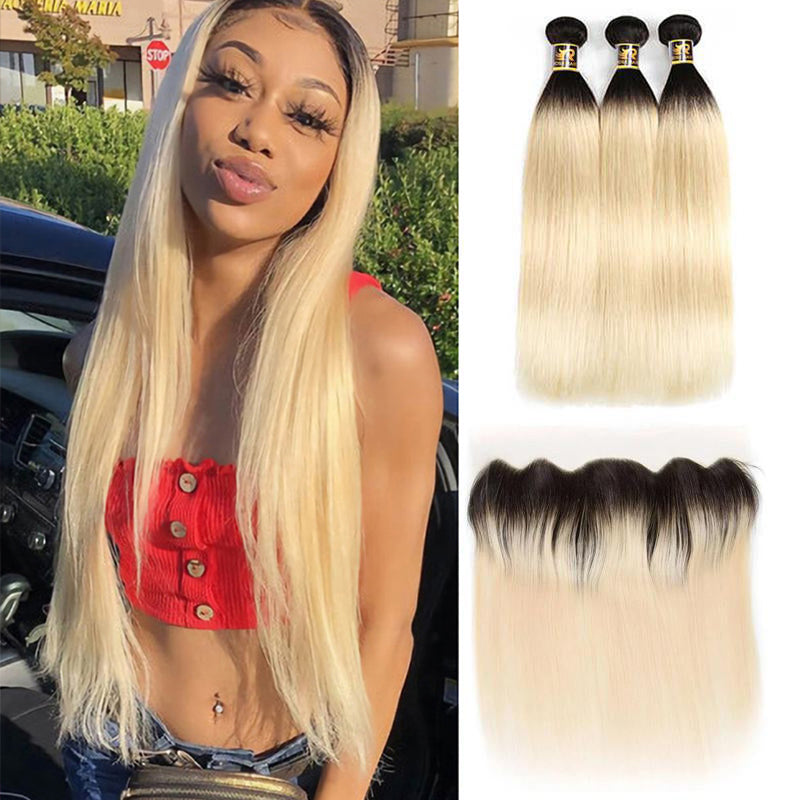 10A Grade Straight #T1b/613 Blonde Color Pre Plucked 13x4 Lace Frontal with 3 Bundles Best Brazilian Virgin Hair - Rose Hair