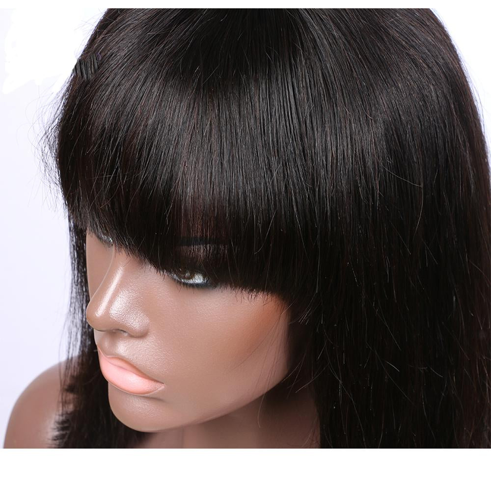 13x4 Lace Frontal Bob With Blunt Bangs Wig Human Hair Lace Wig - Rose Hair