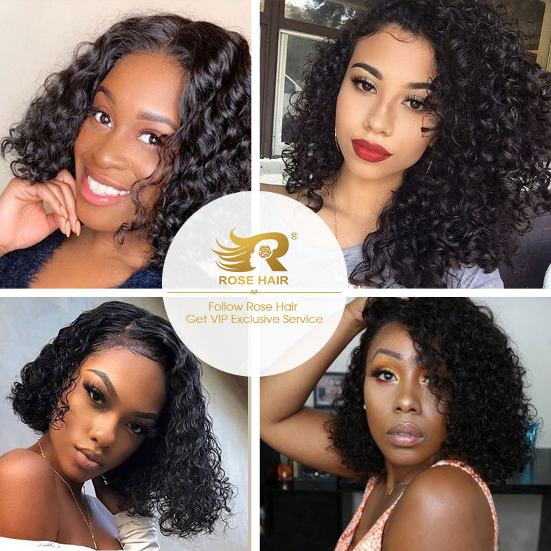 Curly Bob Wig Transparent Lace Wigs 100% Human Remy Hair 13x4 Lace Frontal Wig - Rose Hair