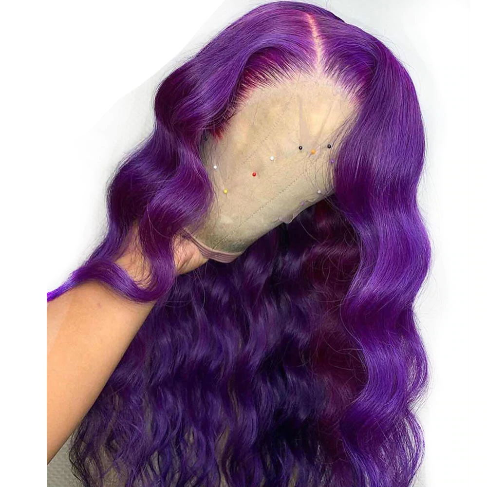 Human Virgin Hair Purple Color Pre-plucked Lace Frontal Wig 150% Density The Same As The Hairstyle In The Picture - Rose Hair
