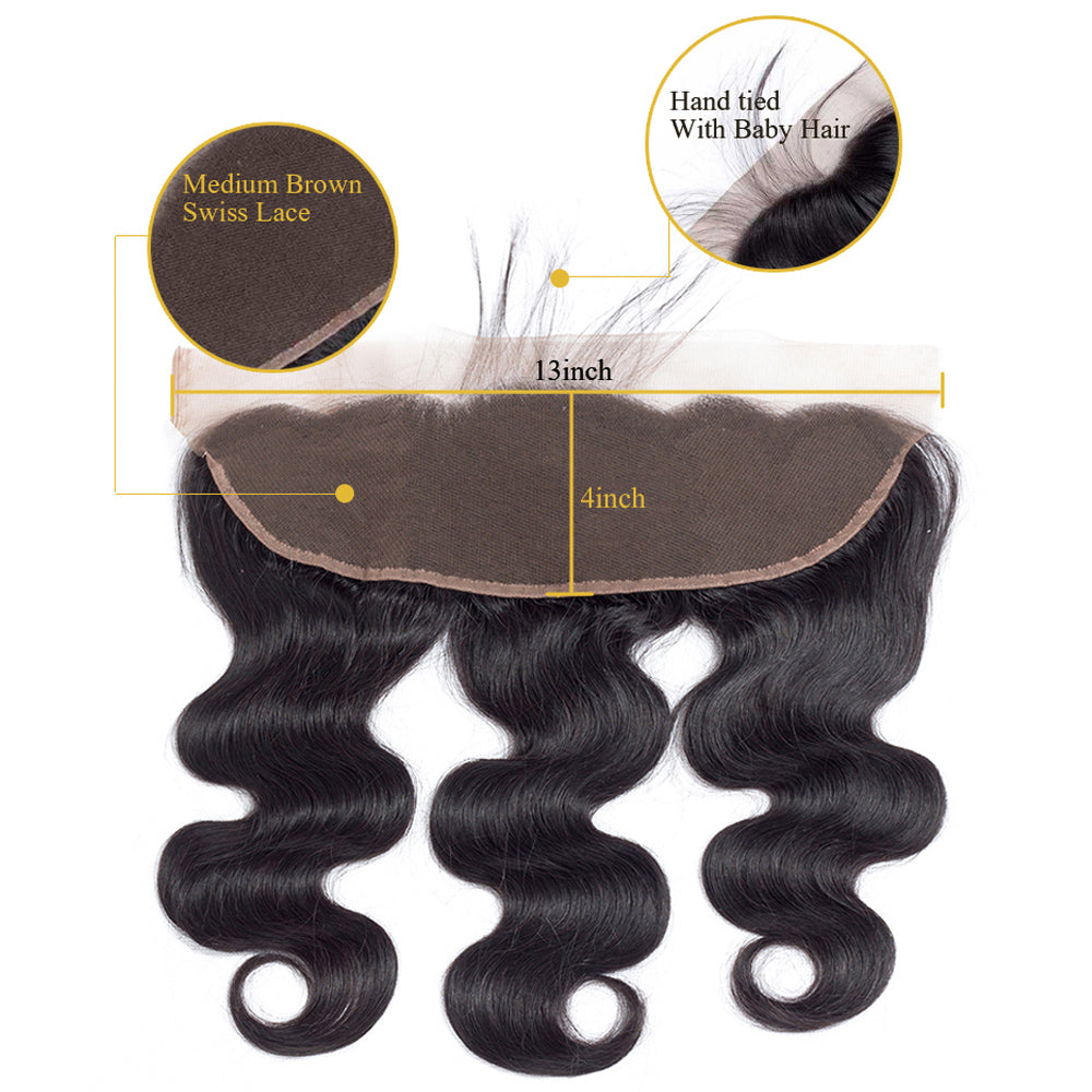 10A Grade Body Wave Pre Plucked 13x4 Ear to Ear Lace Frontal with 3 Bundles Best Brazilian Virgin Hair - Rose Hair