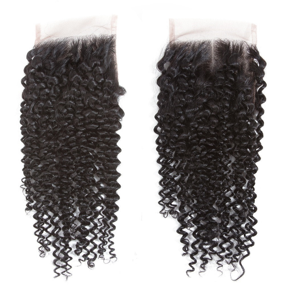 1PCS Brazilian Virgin Kinky Curly 4x4 Lace Closure - Rose Hair