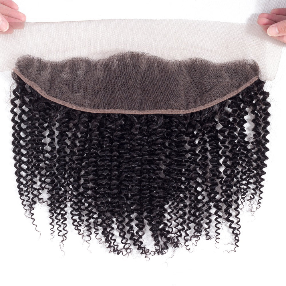 1PCS Brazilian Virgin Kinky Curly Pre Plucked 13x4 Lace Frontal - Rose Hair