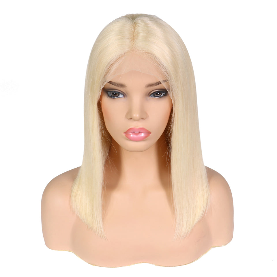 Rose Hair Pre-plucked 13*4 Transparent Lace Frontal #613 Bob Wig Real Brazilian Human Virgin Hair - Rose Hair