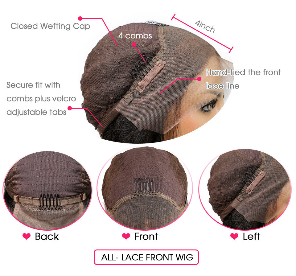 13*4 Frontal Lace Wig Side Part Short Straight Cut Hair - Rose Hair