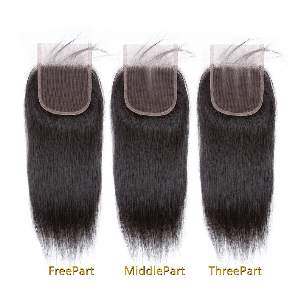1PCS Brazilian Virgin Straight 4x4 Lace Closure - Rose Hair