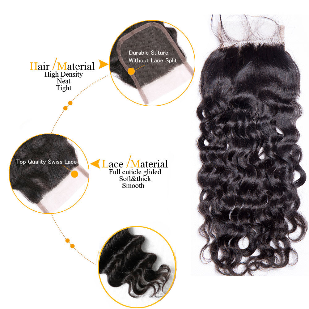 1PCS Brazilian Virgin Water Wave 4x4 Lace Closure - Rose Hair