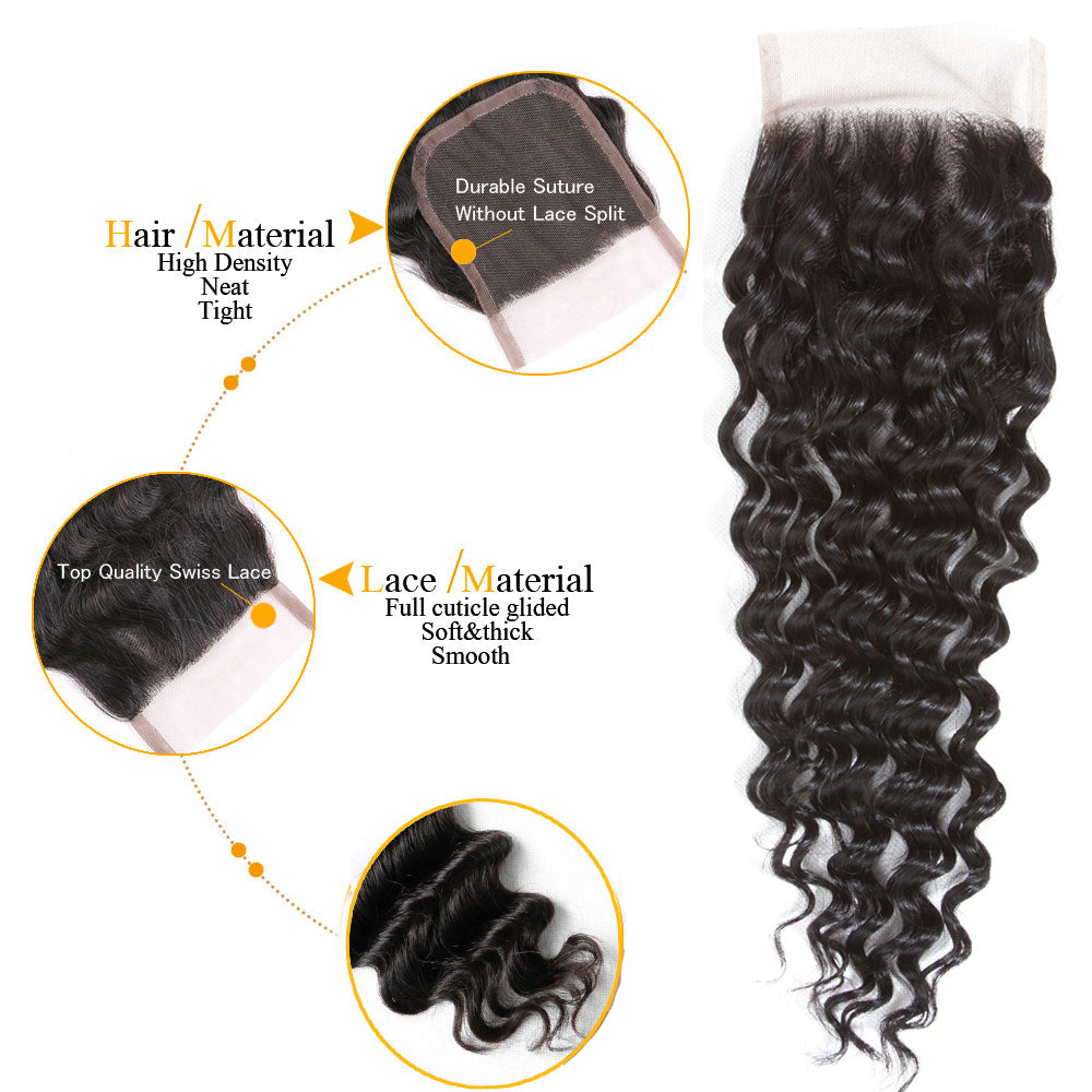 1PCS Brazilian Virgin Deep Wave 4x4 Lace Closure - Rose Hair