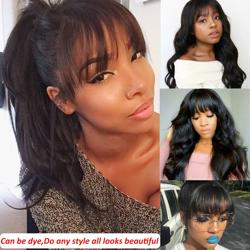 RoseHair 15A Brazilian Body Wave Human Hair Wig With Free Part Bangs Machine Made Glueless Breathable Wig Supper Soft Affordable - Rose Hair
