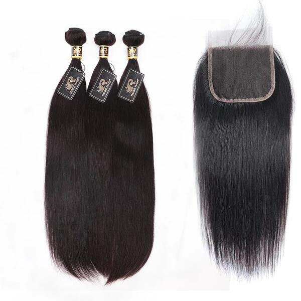 Rosehair 10A Grade Brazilian Straight 3 Bundles Virgin Hair With 4*4 Lace Closure - Rose Hair