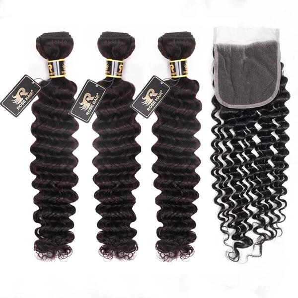 Rosehair 10A Grade Brazilian Deep Wave 3 Bundles Virgin Hair With 4*4 Lace Closure - Rose Hair