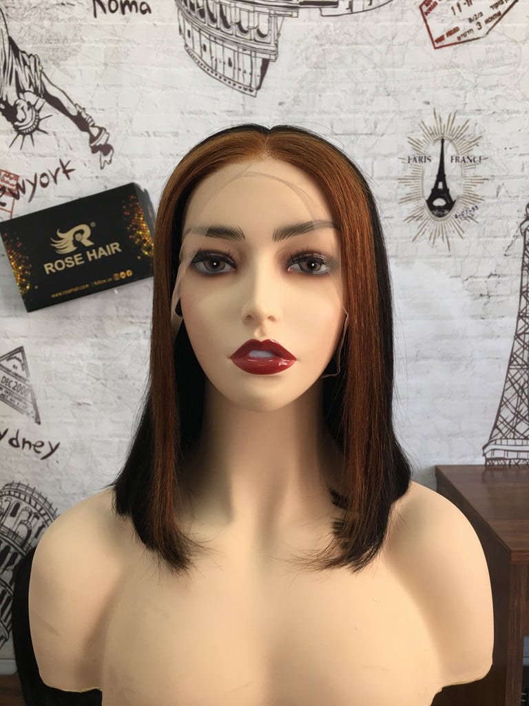 New Fashion 13*4 Lace Front Bob Wig Rose Hair Brazilian Human Virgin Hair Mix Color Hair - Rose Hair