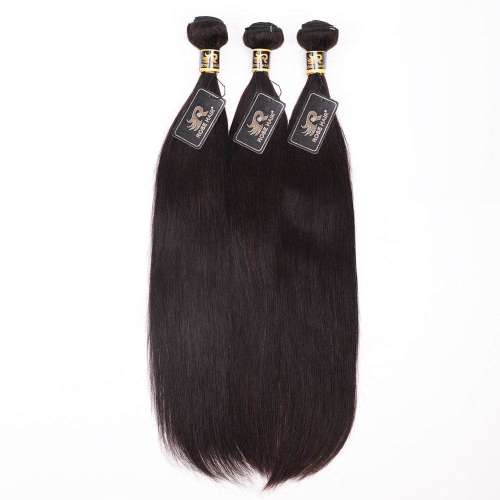 10A Grade 4PCS Straight Best Brazilian Virgin Hair Bundles - Rose Hair