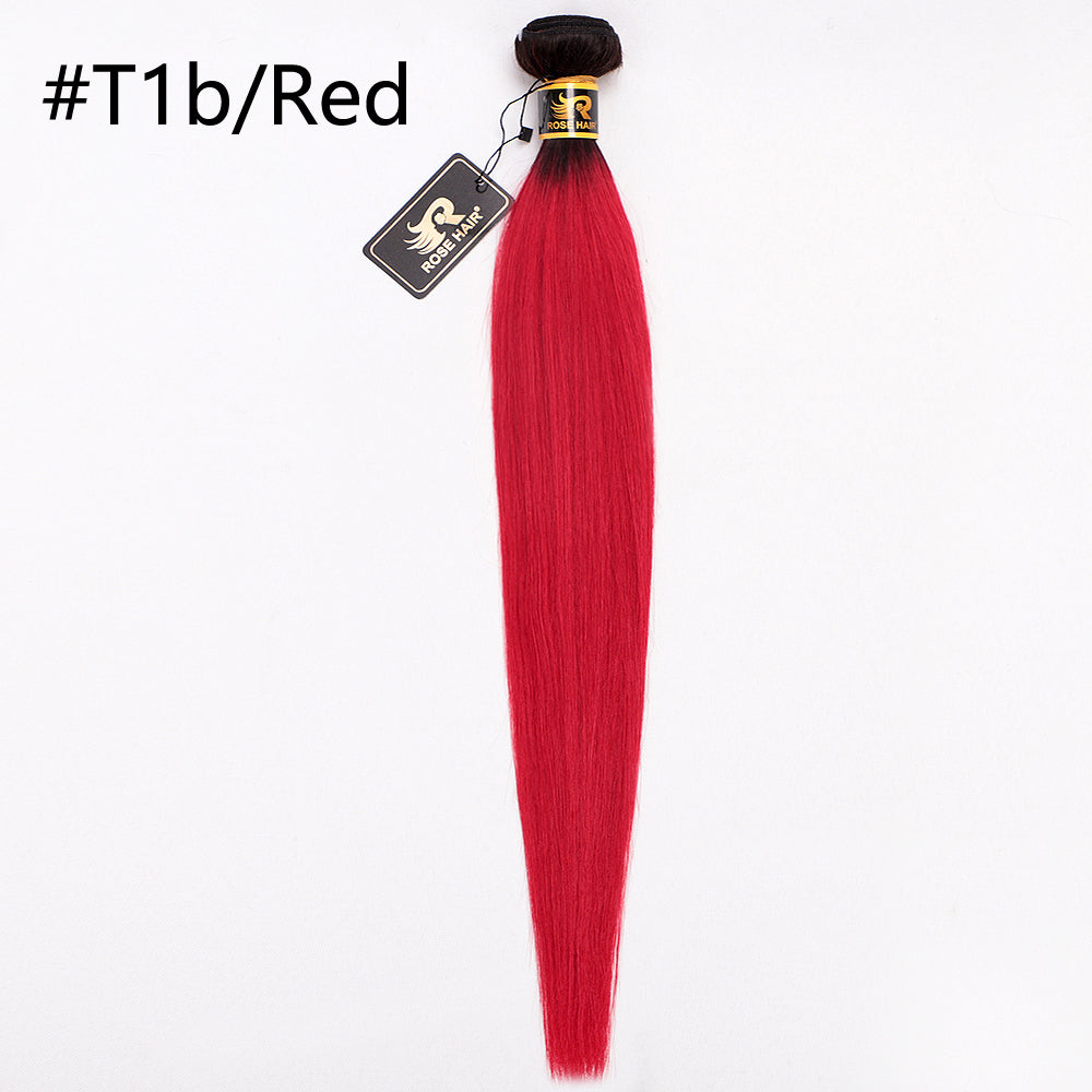 10A Grade 1PC Straight Top #1B Ombre Color Best Brazilian Virgin Hair Bundles - Rose Hair