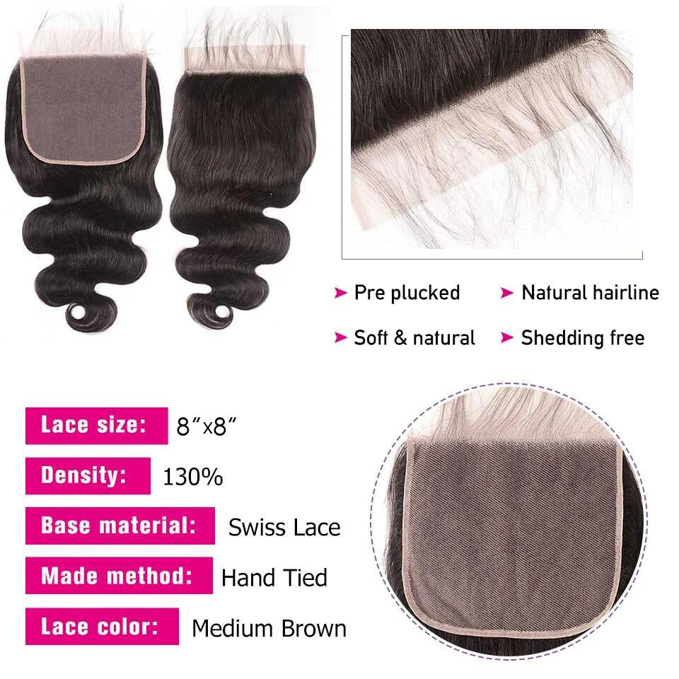 1PCS Brazilian Virgin 8*8 Lace Closure New Arrival Lace Closure Free Part - Rose Hair