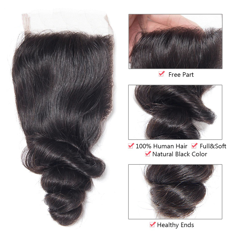 10A Grade 3 Bundles Brazilian Loose Wave Virgin Hair with 1 PCS 4*4 Lace Closure - Rose Hair