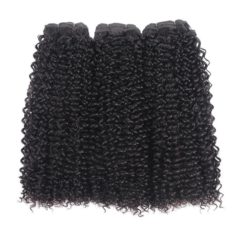 Rosehair 15A Grade Double Drawn Full End Unprocessed 3 Bundles Kinky Curly Brazilian Hair Natural Black - Rose Hair