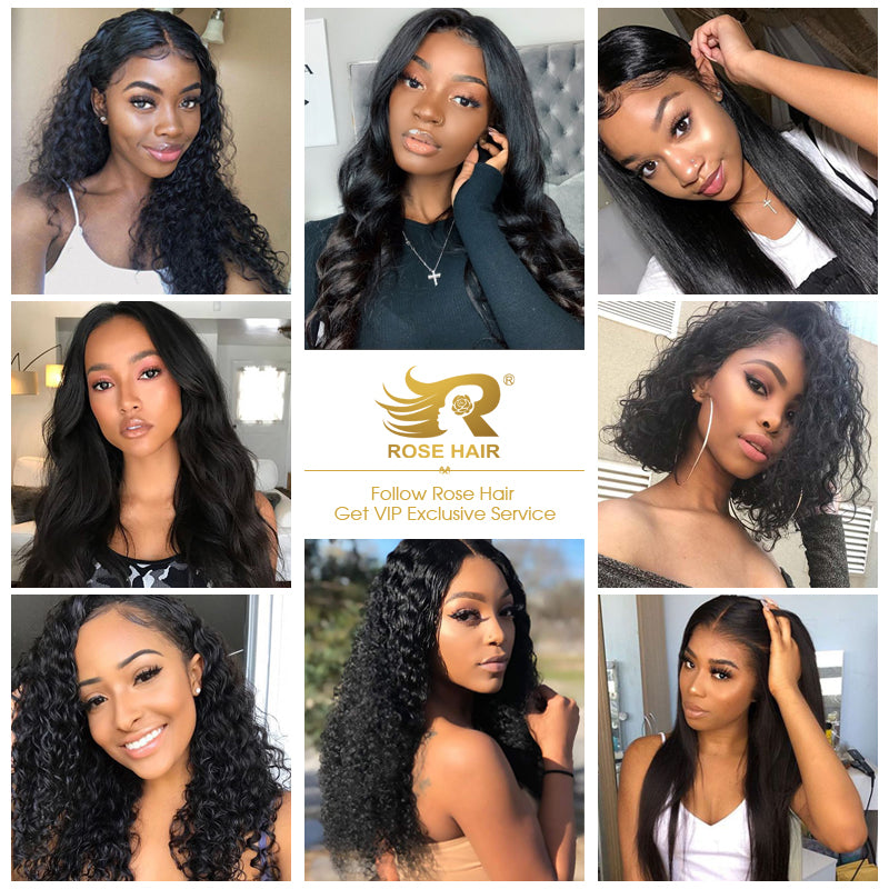 RoseHair 4*4 Glueless Lace Frontal Wig Big Bouncy 100% Human Hair Wig All Texture - Rose Hair