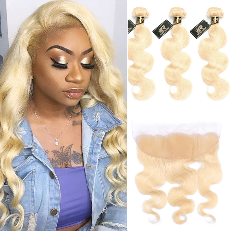 10A Grade Body Wave #613 Blonde Color Pre Plucked 13x4 Lace Frontal with 3 Bundles Best Brazilian Virgin Hair - Rose Hair