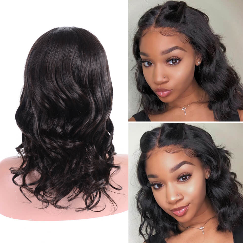 RoseHair 100% Human  Hair 13x4 Lace Frontal Silky Bob Wig Blunt Cut Natural Color All Texture - Rose Hair