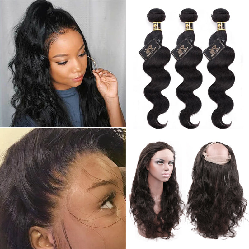 10A Grade 3 Bundles Brazilian Body Wave Virgin Hair With 1 PCS Per Plucked 360 Lace Frontal - Rose Hair