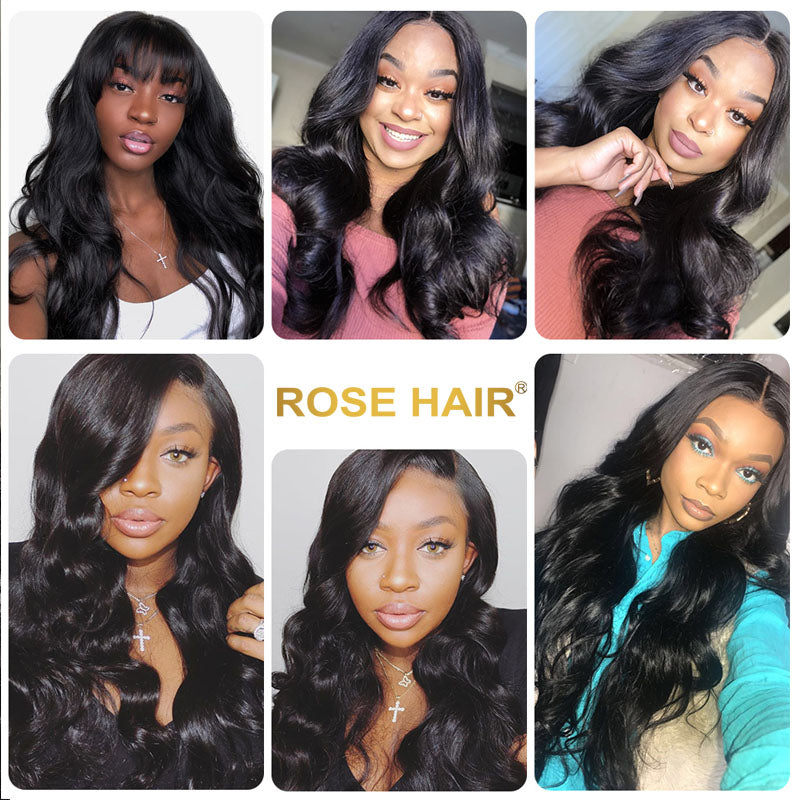 RoseHair Body Wave Headband Wig Glueless Human Hair Wig With Pre-attached Scarf Half Wig 150% Density - Rose Hair