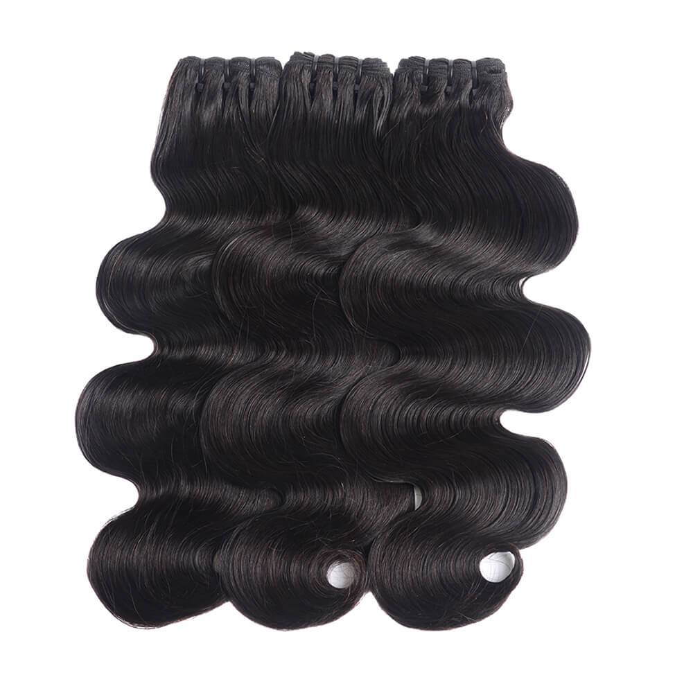 Rosehair 15A Grade Double Drawn Full End Unprocessed 3 Bundles Body Wave Brazilian Hair Natural Black - Rose Hair