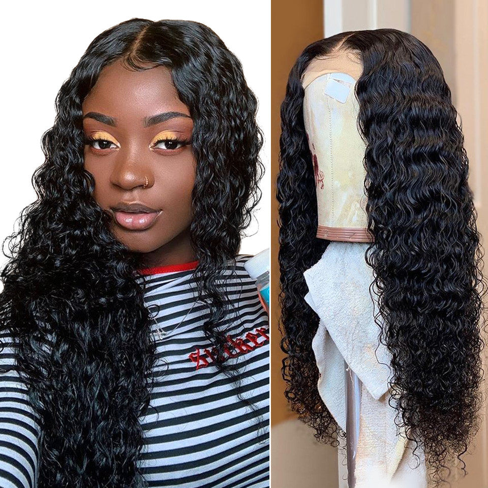 RoseHair Top Quality Virgin hair Pre Bleached Deep Wave 13*4 Lace Frontal Wig Short Hair - Rose Hair