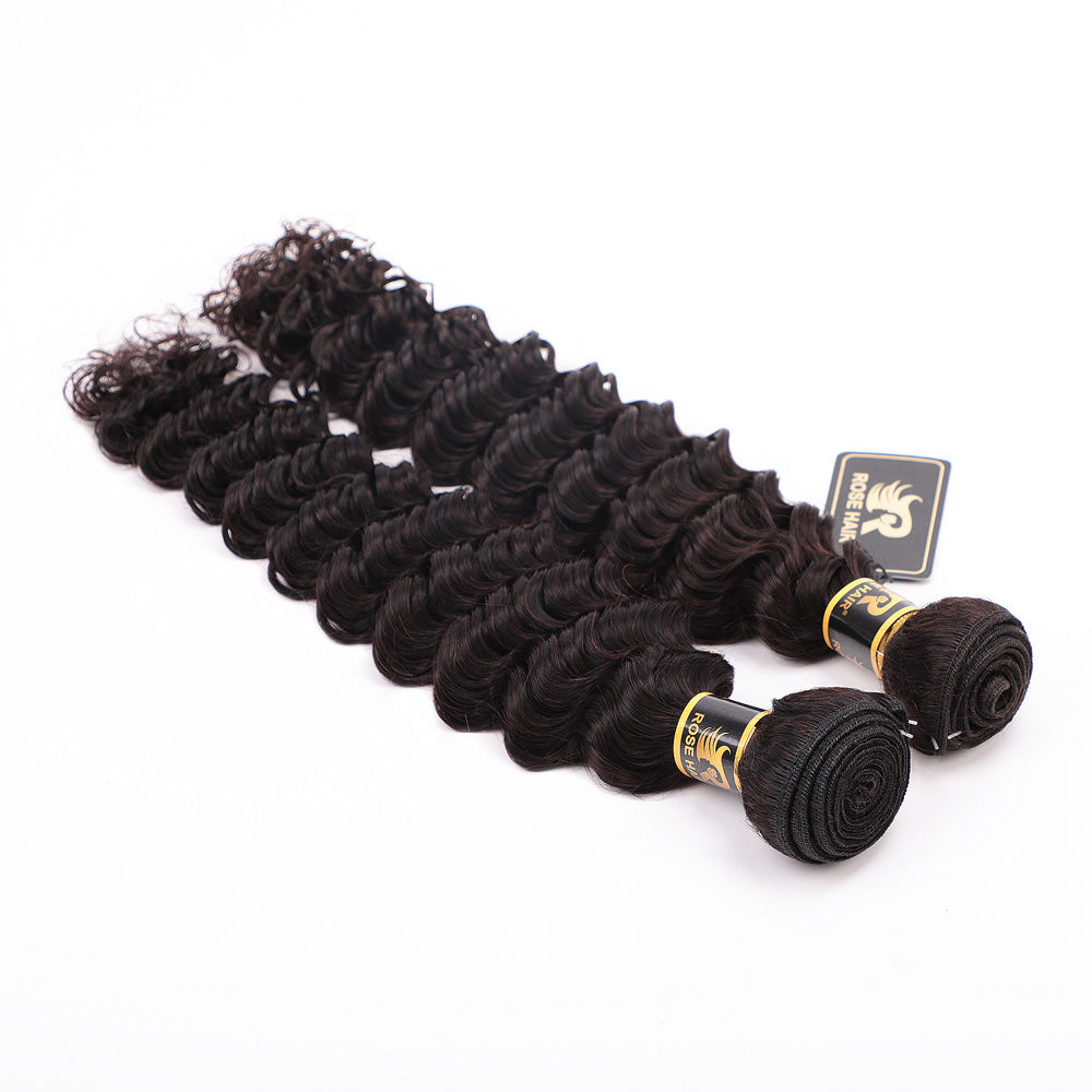10A Grade 1PC Deep Wave Best Brazilian Virgin Hair Bundles - Rose Hair