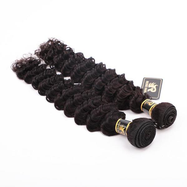 10A Grade 4PCS Deep Wave Best Brazilian Virgin Hair Bundles - Rose Hair