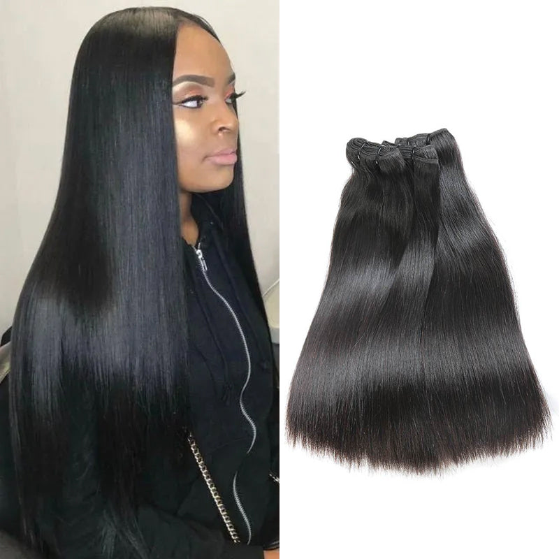 Rosehair 15A Grade Double Drawn Full End Unprocessed 3 Bundles Straight Brazilian Hair Natural Black - Rose Hair