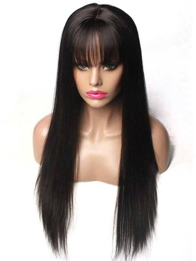 RoseHair 15A Brazilian Straight Hair  Human Hair Wig With Free Part Bangs Machine Made Glueless Breathable Wig Supper Soft Affordable - Rose Hair