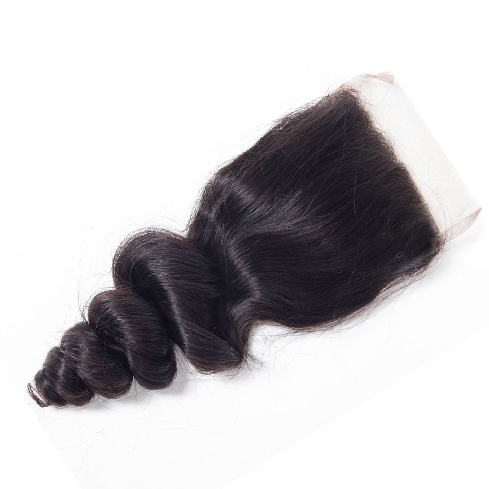 1PCS Brazilian Human Virgin Loose Wave Hair 4x4 Lace Closure - Rose Hair