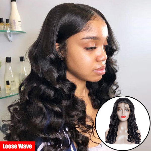 13x6 Fake Scalp Wig Glueless Lace Front Wigs Pre Plucked Remy Brazilian 100% Human Remy Hair Wigs - Rose Hair