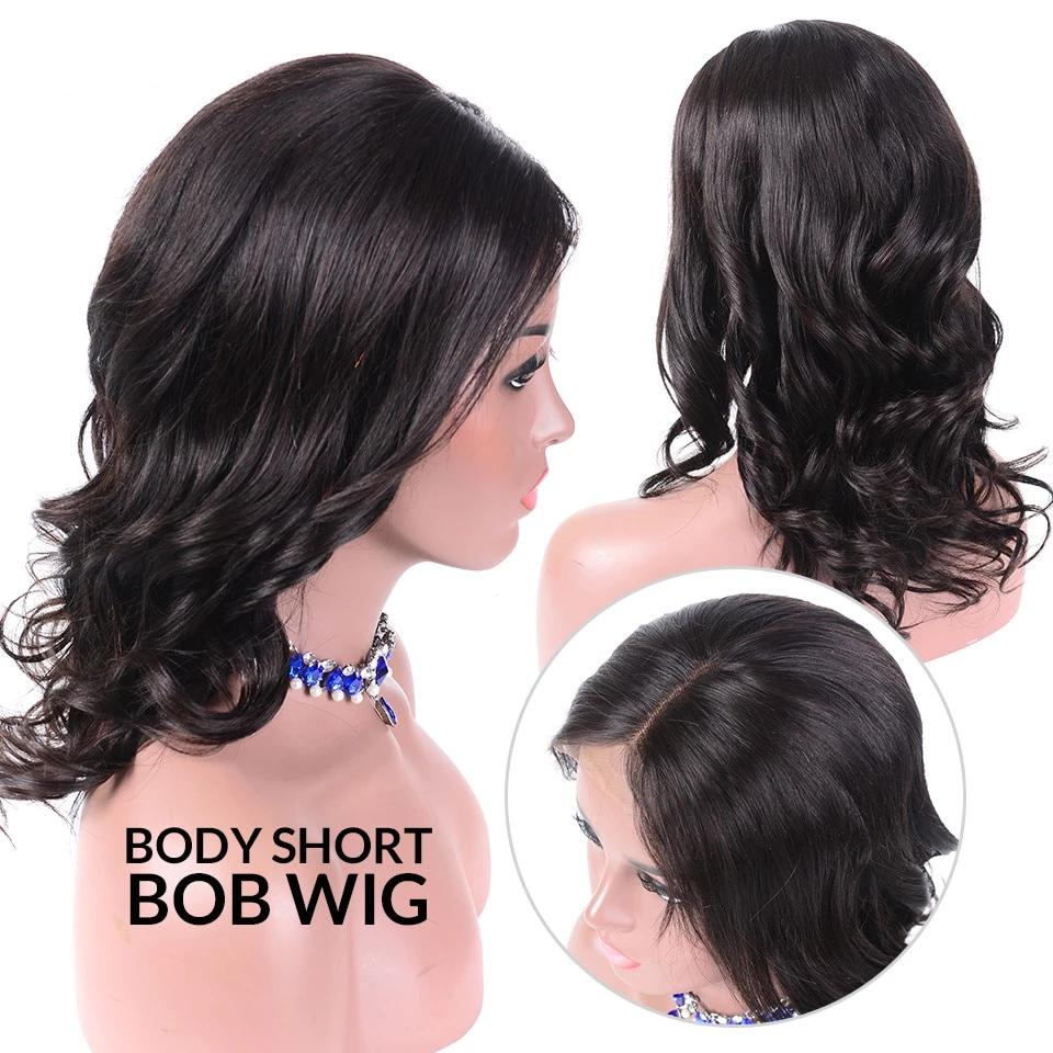 Body Wave Short Bob Wigs 13x4 Brazilian Lace Front Human Hair Wigs Pre Plucked Hairline 150% Density - Rose Hair