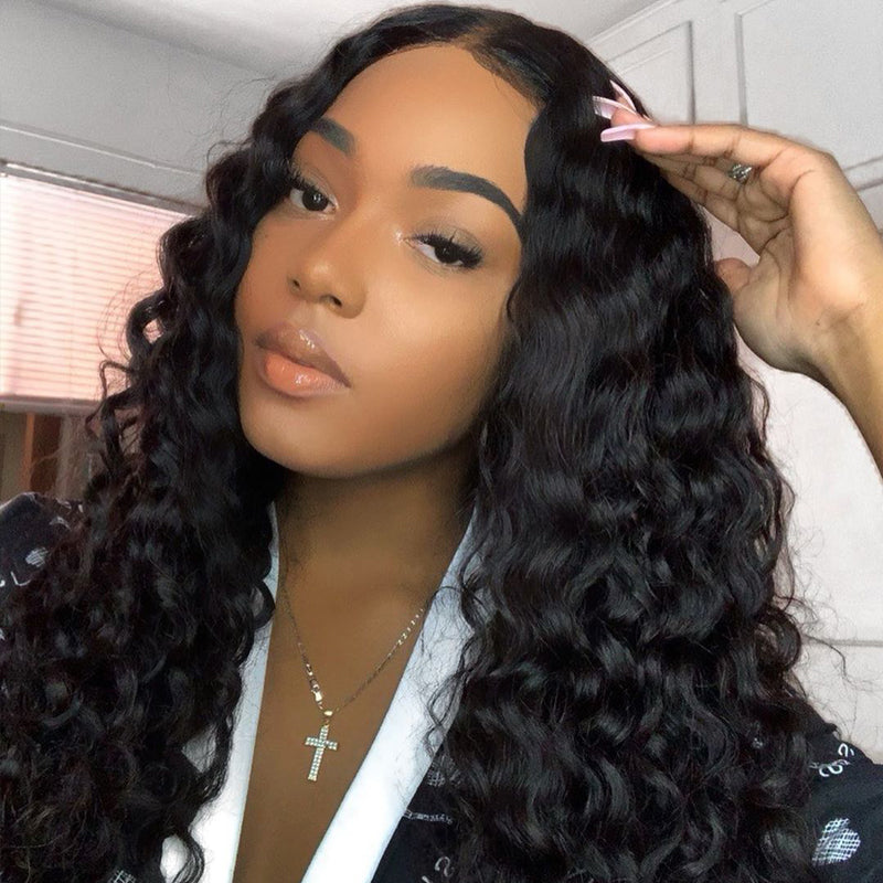 10A Grade Deep Wave Pre Plucked 13x4 Ear to Ear Lace Frontal with 3 Bundles Best Brazilian Virgin Hair - Rose Hair