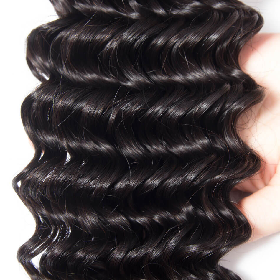 10A Grade Brazilian 4 Bundles Deep Wave Human Virgin Hair With 13x4 Lace Frontal Pre Plucked - Rose Hair