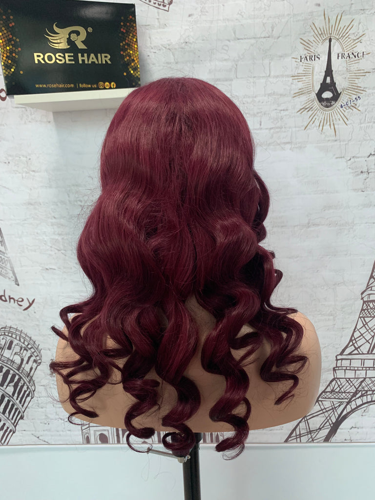 Rose Hair Human Virgin Hair Burgundy Color Hair Lace Frontal Loose Wave Wig - Rose Hair