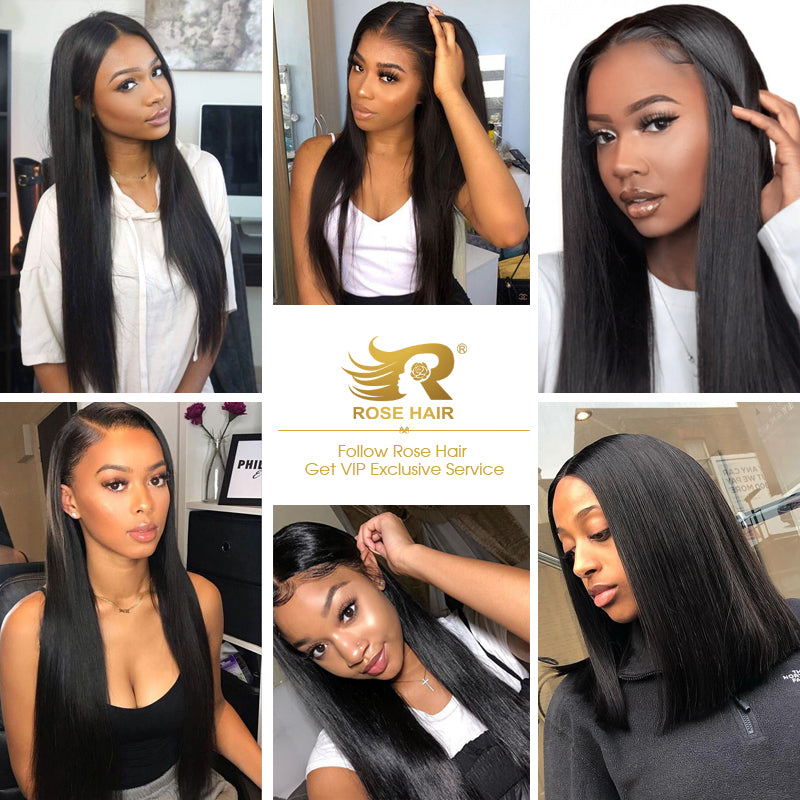 10A Grade Straight Pre Plucked 13x4 Ear to Ear Lace Frontal with 3 Bundles Best Brazilian Virgin Hair - Rose Hair