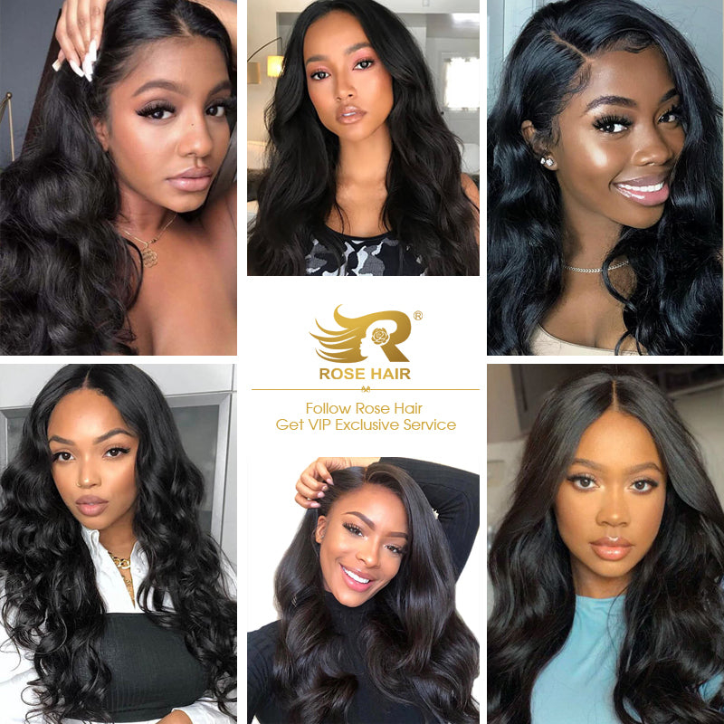 Rose Hair 13x4 Transparent Lace Frontal Wig Pre Plucked With Baby Hair 100% Brazilian Human Virgin Hair Glueless Wig All Texture - Rose Hair