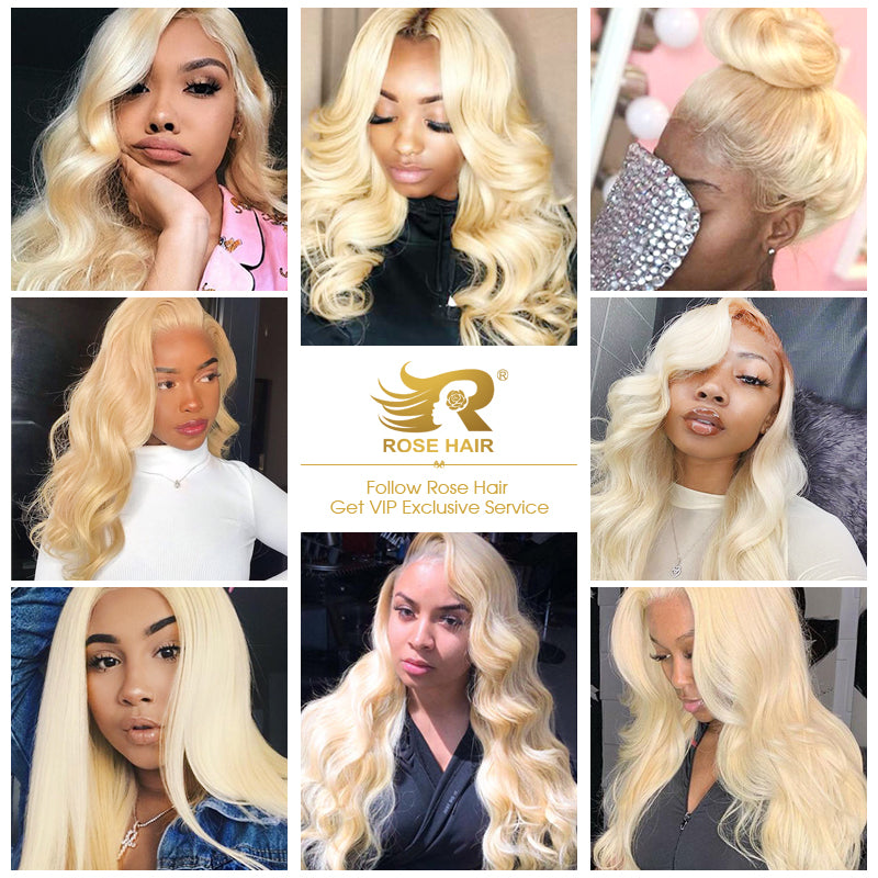 10A Grade 3 Bundles Brazilian Body Wave Virgin Hair #613 Blonde Color With 1 PCS 4*4 Lace Closure - Rose Hair