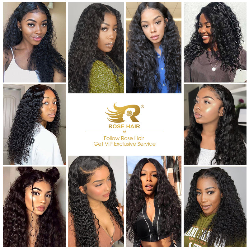 Rose Hair 100% Human Virgin Hair Water Wave 13*4 Lace Front Brazilian Hair Wig - Rose Hair